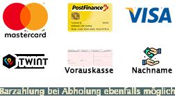 Maestro, Postcard, Visa, Vorauskasse, Barzahlung bei Abholung